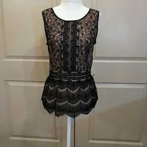 Loft lace overlay sleeveless blouse